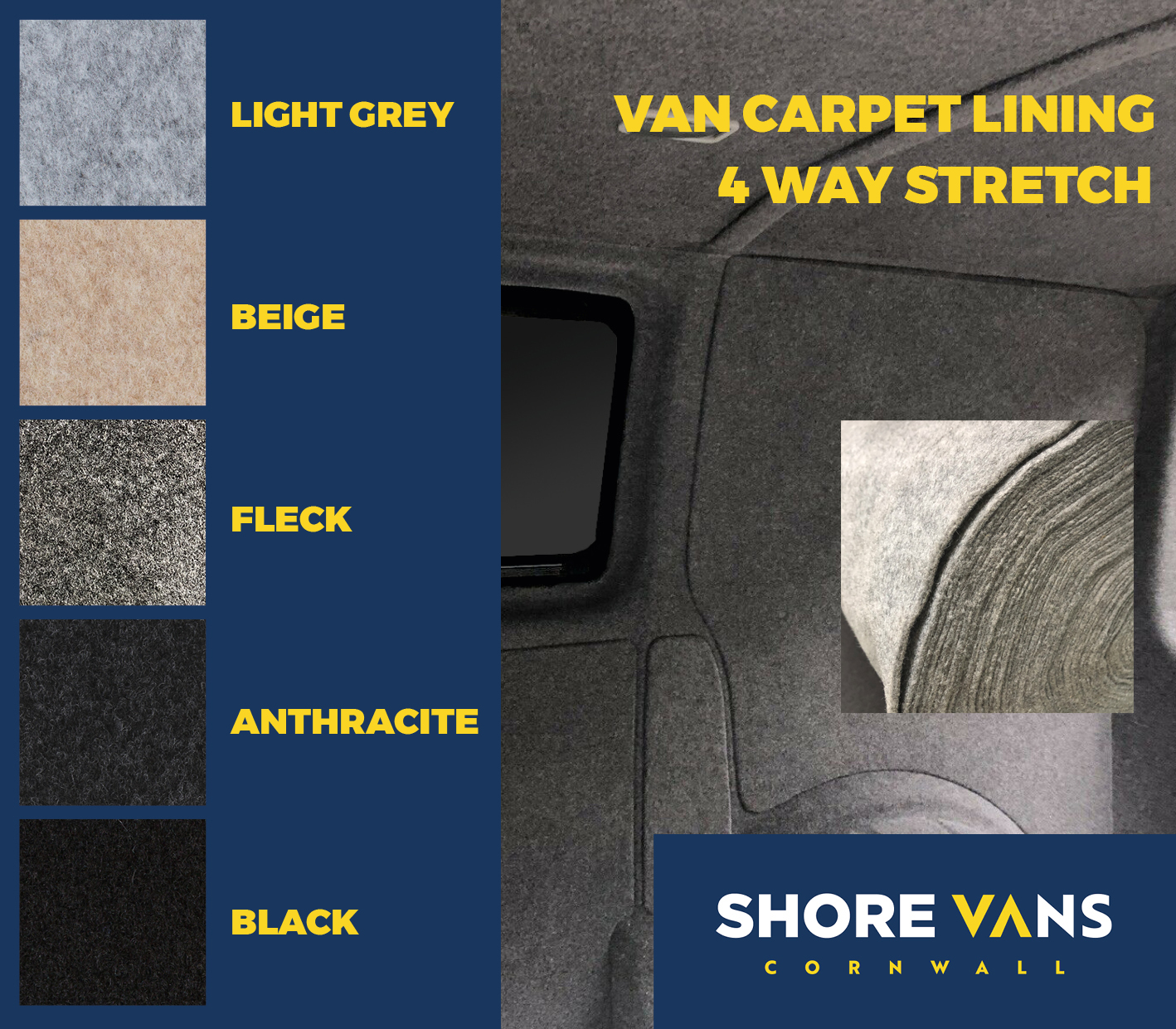 VW T4 T5 T6 Campervan Boat Carpet Lining Stretch 10 Sqm ***LIGHT GREY***