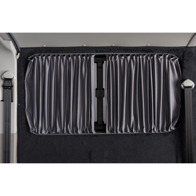 closed grey curtain