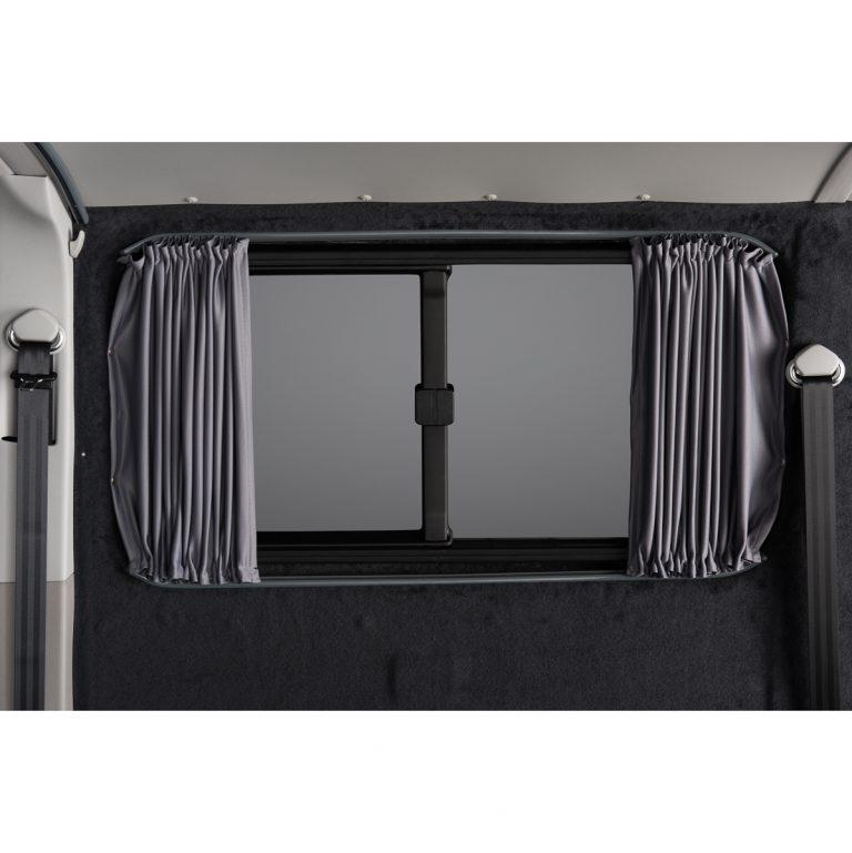 grey curtain open