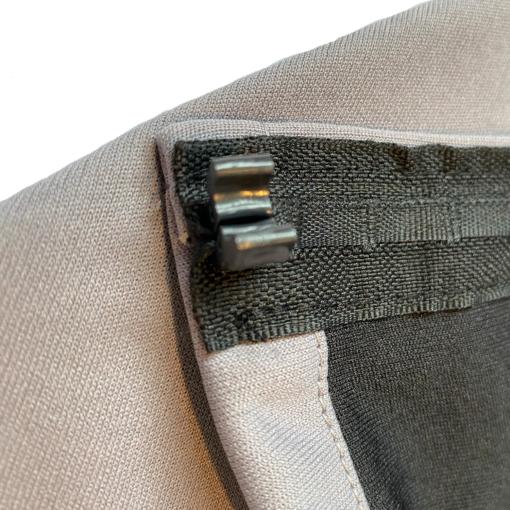grey curtain fabric close up